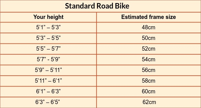 Standard road bike size guide table