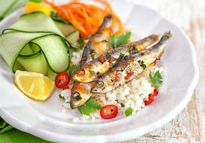 Grilled Honey Lemon Sardines with Herbed Rice